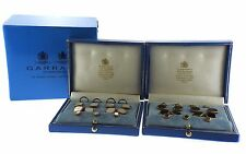 Art Deco  Garrard 18K Gold MOP Onyx Cufflink Button Stud Set Lot of 2