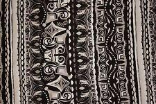 Black White Ethnic Jersey Knit Print #122 Cotton Poly Spandex Lycra Fabric BTY