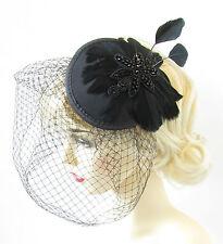Plume Noire Cage D'oiseau Voile Bandeau De Bibi Vintage Art Déco Cocktail S67