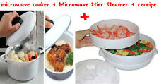 MICROWAVE cooker +2tier STEAMER INSTANT COOK  FAST healthy vegetable, fish,rice