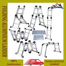 NEW 2.6M FOLDING ALUMINIUM MULTI FUNCTION PURPOSE LADDER + PLATFORMS FOLD ABLE