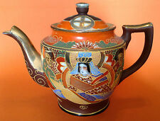 Large Tea Pot Satsuma Style Immortals - Hand Painted With Gilding Moriage Japan