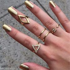 FemNmas Geometry 5 Piece Ring Set Midi Finger Celebrity Ring Set Five Ring Set