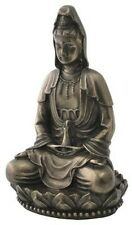 "NEW! 3"" Kuan Yin Kwan On Lotus Statue Figurine Eastern Tibetan Gift Quan 1918"