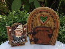 Mini FAIRY GARDEN Accessories Set/ 2 Resin Enchanted Tree Gnomette Door & Window