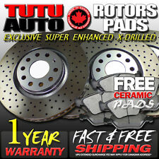 S0835 FIT 2009 2010 Acura TSX Cross Drilled Brake Rotors Ceramic Pads F+R