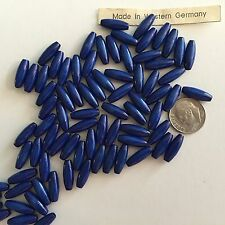 """50 pcs (31"""") Vintage West German Natural Wood Dyed Deep Blue 15X6mm Oval Beads"""