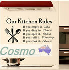 Wall Sticker Our Kitchen Rules Dinning Room WOMEN Laws Obey Door Decals Vinyl