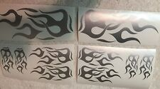 Motorcycle Vinyl Flame Decals Kit -METALIC  SILVER