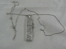 ANTIQUE etched Sterling Silver Needle Case Holder Pendant CHATELAINE