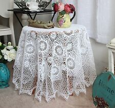 Elegant Hand Crochet Floral Design White Round Cotton Table Cloth L