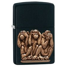 Zippo 29409, 3 Monkeys, See-Speak-Hear No Evil,  Black Matte Finish Lighter,