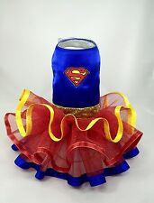 Superman supergirl superhero Dog dress Halloween costume tutu XXS - MED