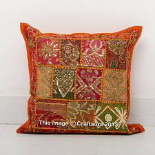 """Indian Orange Patchwork Embroidered 16"""" Cushion Throw Vintage Pillow Cases Cover"""