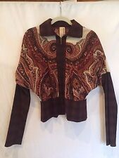 Antonio Marras Wool Brown Pattern Collared Zip Up Sweater Jacket US 6 or IT 42