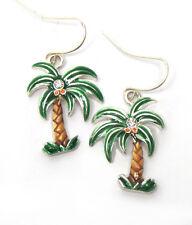 PALM TREE Ocean Beach Life Crystal Green Brown Palm Tree  Pierced Wire Earrings
