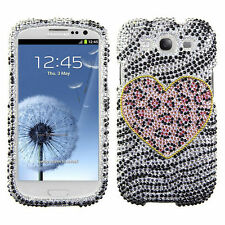 Samsung Galaxy S III 3 Crystal Diamond BLING Case Phone Cover Playful Leopard