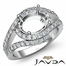 Halo Pave 0.63Ct Diamond Engagement Oval Semi Mount Ring Platinum Curve Shank