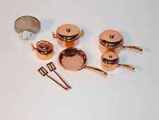 Dollhouse Miniature Copper Cookware Set  Pots & Pans 1:12   1 inch scale  D30