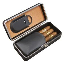 Folding Leather Cigar Case with Cutter - Black