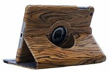 360 Degree Rotation Wood Finish Leather Case Cover For Apple iPad 2 3 4 ( Wood )
