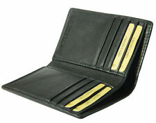 Slim Black real leather credit card oyster holder mini small thin bifold wallet