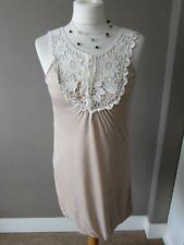 RIVER ISLAND Ladies Cream Jersey Bubble Hem Dress Crochet Lace Trim Size 8 BNWT