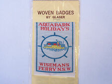 VINTAGE AQUAPARK HOLIDAYS WISEMANS FERRY NSW EMBROIDERED PATCH WOVEN CLOTH BADGE