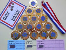 SPECIAL AWARD MEDALS FOOTBALL 50MM METAL + RIBBONS +CERTIFICATES SET OF 15