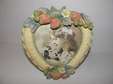 "VINTAGE Ceramic HEART Photo PICTURE Frame Strawberry FLOWER Design  5"" x 4-3/4"""