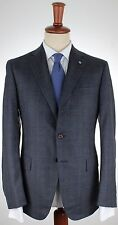 NWT EIDOS by iSAIA SUIT wool blue brown prince Wales handmade Italy eu 52 us 42