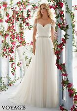 Beach Wedding Dress Elegant Ivory/white Sleeveless Bridal Gown Custom 4 6 8 10++