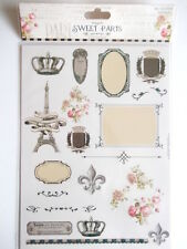 Dovecraft Sweet Paris A4 Glitter stickers - Eiffel Tower , crown , frames