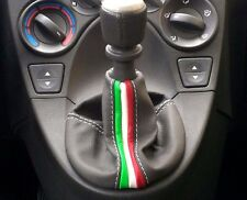 FIAT PANDA HEADPHONE GEAR LEVER REAL LEATHER GRAY 2004 - 2012 WITH TRICOLOR