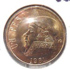 CIRCULATED 1981 UN PESO MEXICAN COIN!  (62815)