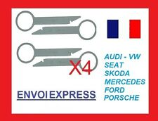 4 Llaves de Extraccion para desmontar radio CD AUDI SEAT VOLKSWAGEN FORD SKODA