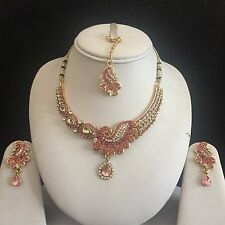 PINK GOLD KUNDAN INDIAN COSTUME JEWELLERY NECKLACE EARRINGS CRYSTAL SET NEW GIFT