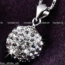 925 Sterling Silver Crystal Diamond Love Ball Necklace Pendant Gift for her Girl