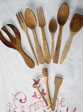 10 x LARP Holzgabel, Salatbesteck, HOLZLÖFFEL Honigroller handgeschnitzt gedrech
