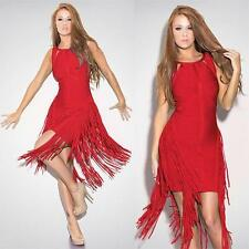 Celebrity Fringed Bandage INSPIERD By Herve Leger Dress  in Red  SZ  S
