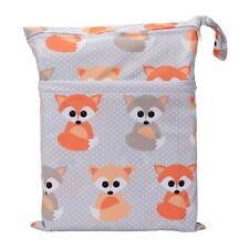 1 Fox Wet Dry Bag Baby Cloth Diaper Nappy Bag Reusable With Two Zipper Pockets