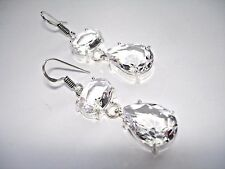 Clear White Topaz Oval Pear Teardrop Dangle .925 Silver Hook Earrings 2""