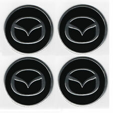 MAZDA  EMBLEM WHEEL CENTRE BADGE  LOGO SICKER SET OF4  55mm  ALLOYS WHEEL TRIMS