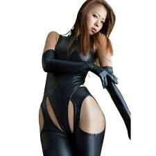 Sexy Women Black Fetish Faux Leather Erotic Catsuit Bodysuit Crotchless Costumes