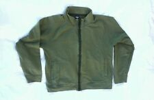 Prana French Terry Stretch Cotton Zip Front Olive Green Jacket L EUC