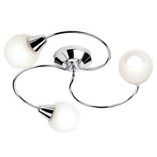 Polished Chrome & Acid Glass 3 Light Curved Semi Flush Ceiling Light Fitting NEW