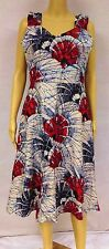 Dress Batik African Wax Print Floral Red White Blue Fit Flare Spring Summer