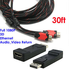 Display Port to HDMI Converter with Audio Adapter+Premium 30FT HDMI Cable Nylon