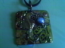 SADIE GREEN COPPER BRASS SEA HORSE HANDCRAFTED ART NECKLACE MIXED MEDIA CORD