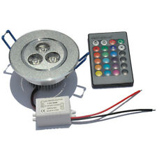 3W RGB LED 16 Color Change Recessed Ceiling Down light Lamp+24 Key IR Controller